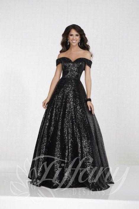 0d4dba51eb7b Tiffany Designs 16303 Off the Shoulder Sequin Prom Dress