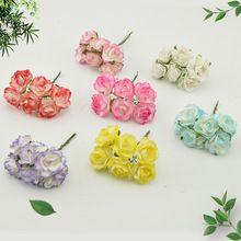 6 pcs Pas Cher Papier Rose Artificielle Fleurs scrapbooking Pour voiture de mariage décoration artisanat DIY Cadeau boîte matériau couronne faux(China (Mainland))