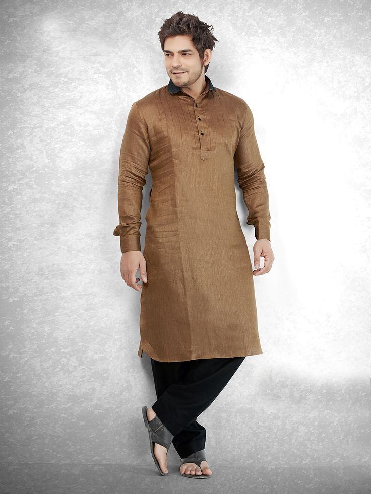 Hover to zoom  Brown Cotton Festive Men Pathani Suit