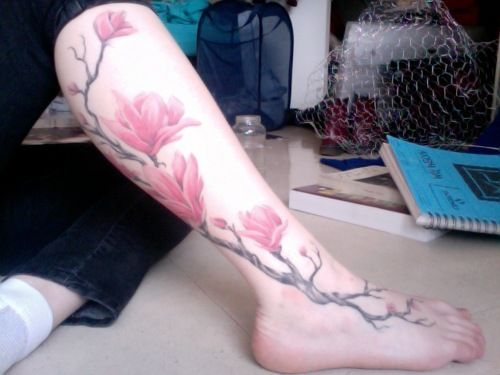 64 best images about magnolia tattoo on pinterest hold for Wrap around leg tattoos