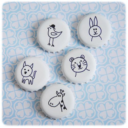 """bottle cap magnets, or cute pins... Courtney has some cute """"blanks"""" I bought from Oriental Trading... Maybe not animals, but certainly simple black and white drawings! Hmmmmm....."""