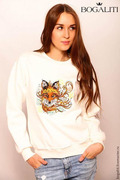 """Свитшот """"Лиса"""" - белый,рисунок,свитшот,свитшот с принтом,свитер с принтом"""