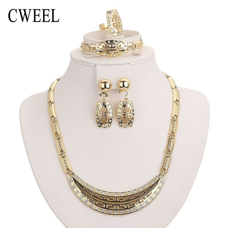 Jewelry Sets African Beads Collar Pendant Necklace Earrings Ring Gold Plated Imitated Crystal Wedding Bridal Pendant Accessories