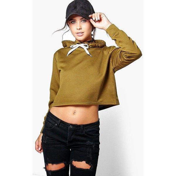 Boohoo Petite Rose Cropped Hoody ($24) ❤ liked on Polyvore featuring tops, hoodies, hooded sweatshirt, cropped tops, petite hoodies, rosette top and cut-out crop tops