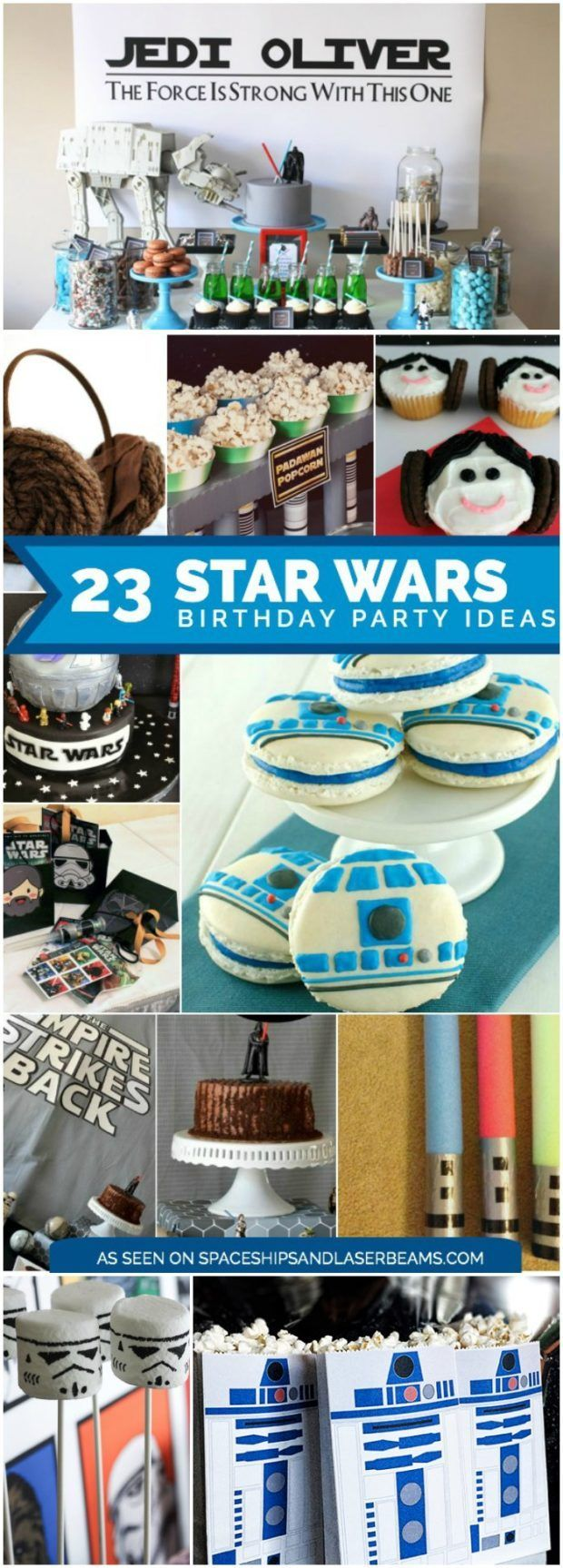 Star Wars Birthday Party Ideas including party supplies, decorations, cakes, cupcakes, sweets, games and more via @spaceshipslb