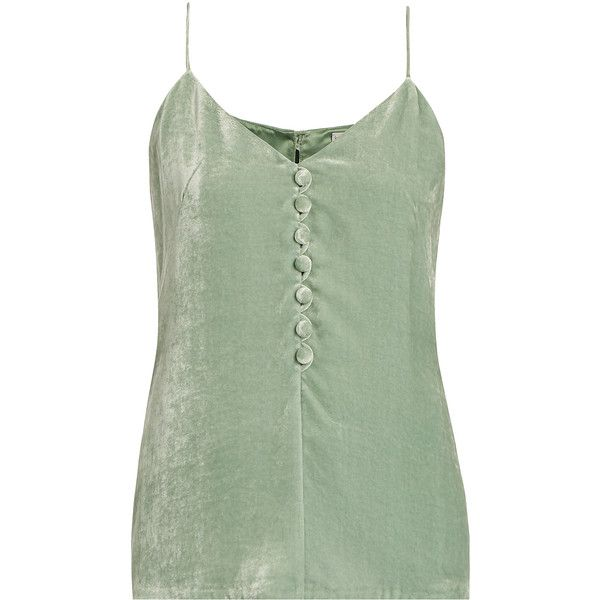 Hillier Bartley Velvet cami top ($515) ❤ liked on Polyvore featuring tops, green top, green tank top, green tank, camisole tank top and v-neck tank