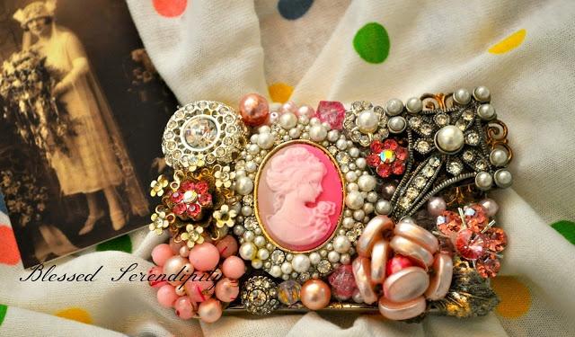 Vintage jewelry repurposed into belt buckle
