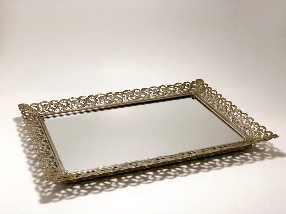 Antique Vanity Tray Filigree Mirrored Tray Vintage Tray Tray With Mirror Dresser Tray Vintage Wedding Centerpieces Antique Vanity Vanity Tray Mirror Tray