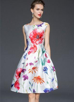 Poliéster Floral Sin mangas Sobre las rodillas De época Vestidos (1014718) @ floryday.com