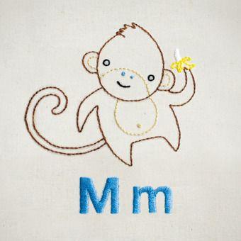 M Monkey hand embroidery pattern - printable PDF file