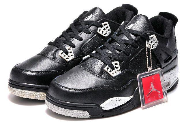 sports shoes b9902 a9741 Real Jordan 4 Retro Black White