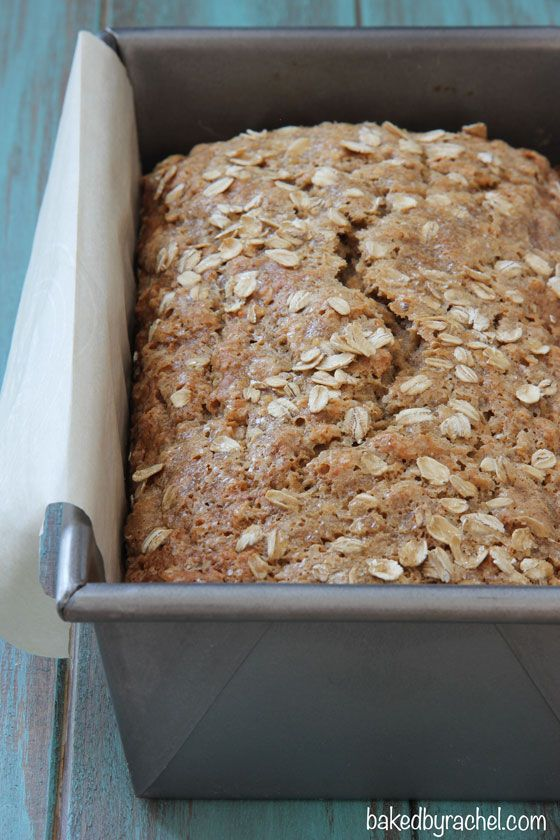 Whole Wheat Oatmeal Banana Bread Recipe from bakedbyrachel.com. Can easily make more healthy/vegan by altering a few ingredients!