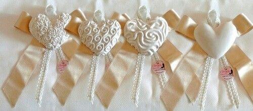 Segnaposto matrimonio cuori in gesso realizzati interamente a mano. ...