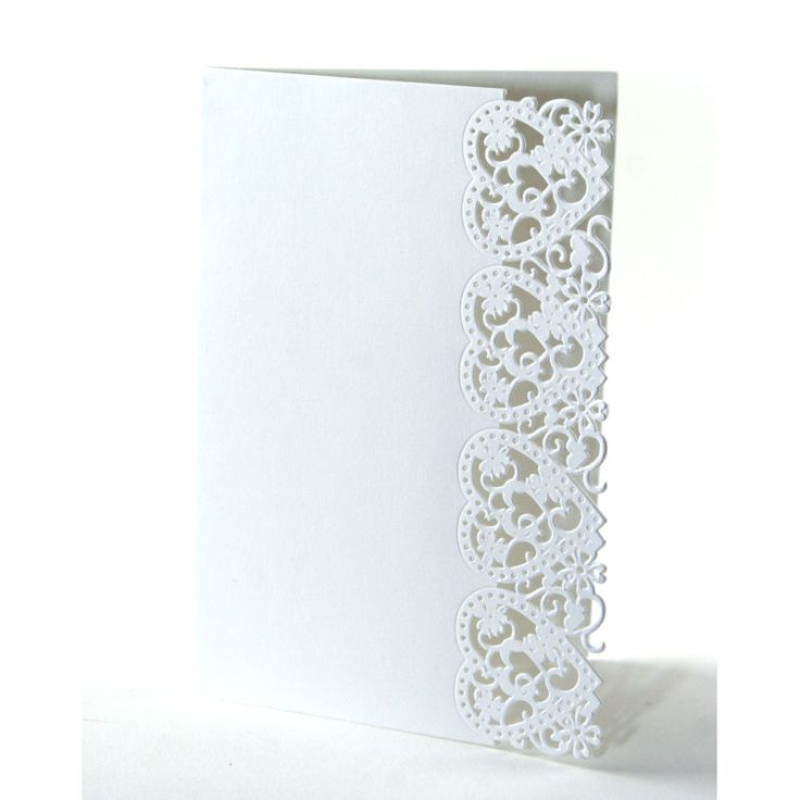 blank wedding invitations%0A White Lace Heart Card Blanks A     Pack