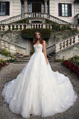 Vestidos de novia sin tirantes princesa formal Catedral tren Novia Personalizado