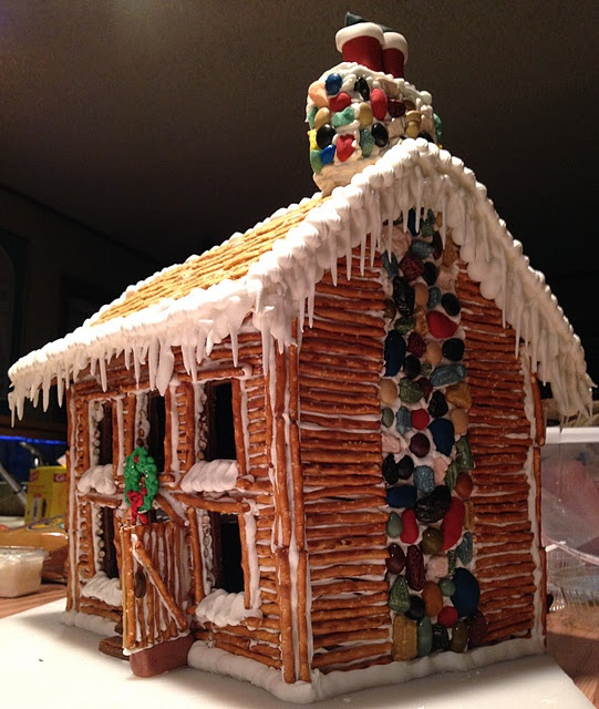Gingerbread with pretzel siding. Awesome details house. Santa going down the chimney.