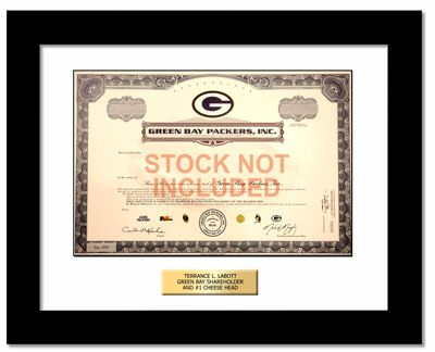 Frames for Green Bay Packers Stock Certificates - GiveAshare.com