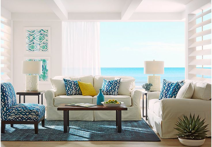 Cindy Crawford Home Beachside Natural 7 Pc Living Room .1988.0.  Find affordable Living Room Sets for your home that will complement the rest of your furniture.  #iSofa #roomstogo