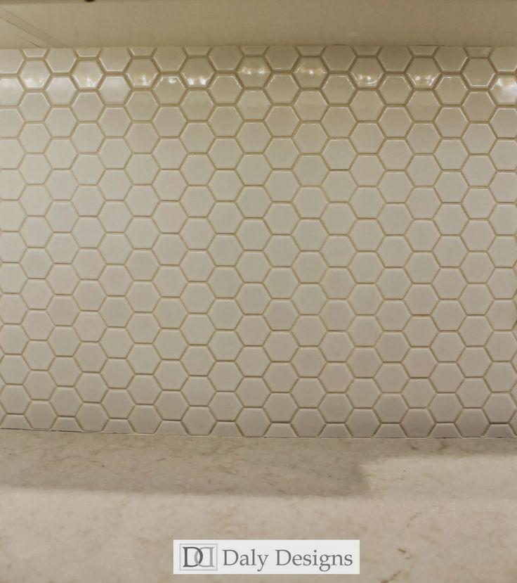 Kitchen Break Room. Hexagon Tile Backsplash. Quartz Counters. Daly Designs