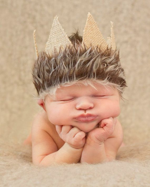 Our Max crown is perfect for that newborn boys first photo session! Just in time for halloween or anytime for a newborn is this back tied
