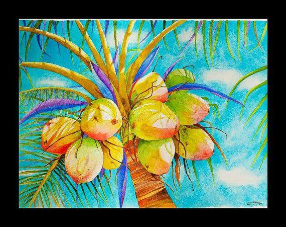 Coconut-Watercolor canvas, archival inks, watercolor