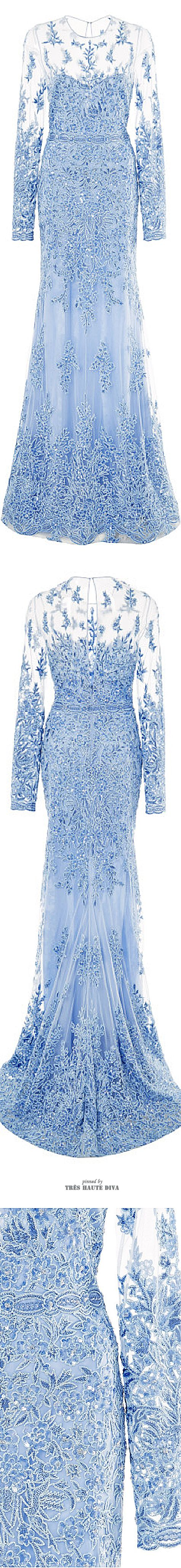 Naeem Khan Lace Embroidered Light Blue Gown ♔ SS 2015