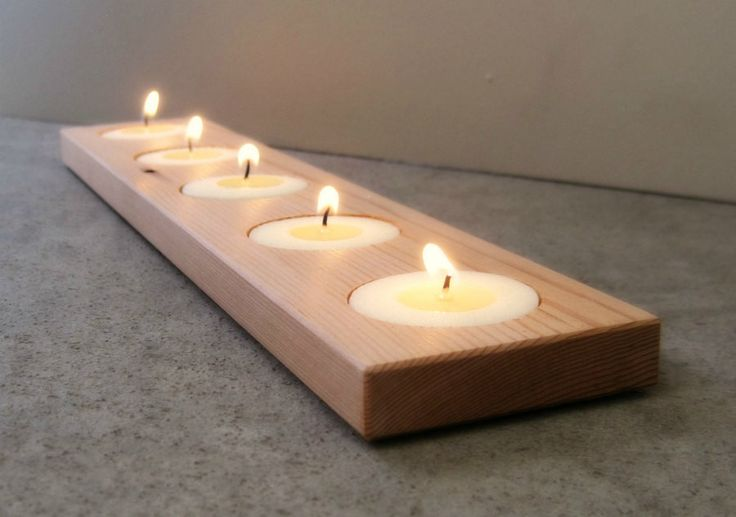 Modern Candle Holder, Spa Decor, Bathroom, Recycled Wood
