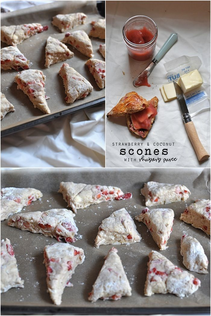 Strawberry and Coconut Scones with rhubarb puree..finally someone who knows what a scone is supposed to be..