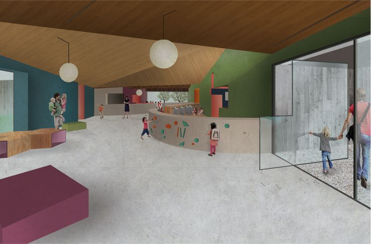KOGAA kindergarden project POD VARTOU SEMILY. Interior Lobby view