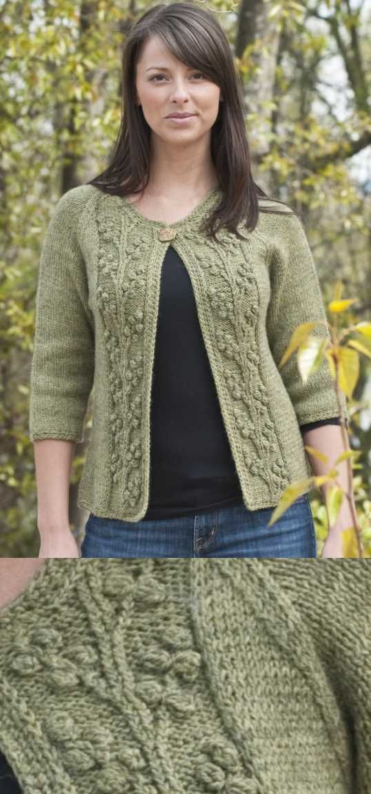defdfae285a23b Bobble Vine Jacket Free Knitting Pattern. Free ladies cardigan knitting  pattern with two front panels with a beautiful bobble stitch and vine.