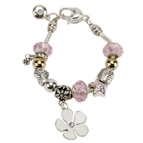 Flower Girl Charm Bracelet - A great way to thank your amazing Flower Girl on your #wedding day.  This pink and silver beaded #charm #bracelet has the words 'Smile' and 'Dream' on two beads - cute!  #Cute Wedding #Gifts By Cadeaux - Cadeaux.ie