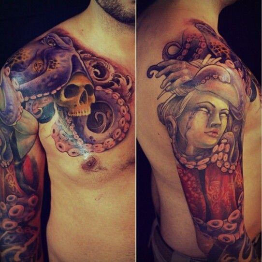 Japanese geisha and octopus 3/4 sleeve by Rick Serna ...