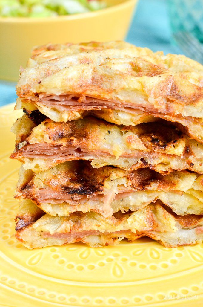 Slimming Eats Syn Free Cheese and Ham Stuffed Hash Brown Waffle - gluten free, Slimming World and Weight Watchers friendly