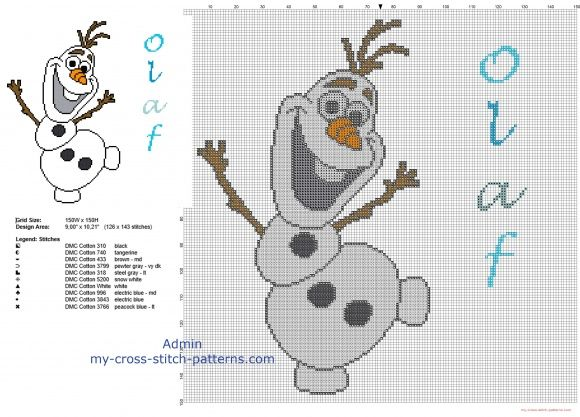 Disney Olaf snowman free cross stitch pattern big size about 150 stitches