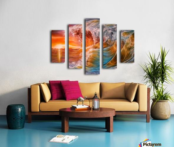 Polyptych, wave,painting,ocean,scene,seascape,sunset,sunrise,beautiful,images,wall,art,vivid,colorful,multicolor,bright,gold,golden,orange,impressive,contemporary,modern,awesome,cool,home,office,decor,nature,water,rough,crashing,breaking,splashing,big,high,spray,light,fine,oil,items,ideas,panels,stretched,split,canvas