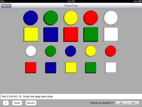 TokenTest ($2.99) The Token Test is a classic language comprehension test originally published in 1962 for detection of non-obvious aphasia. This iPad application includes the original and over 13 variants (both long and short forms) published over the years. It also allows customization of the provided versions so clinicians and researchers can make their own based on those provided. Scoring is automatic and results can be emailed (as can test files).