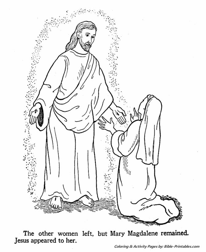 easter bible coloring page jesus appears to mary magdalene - Mary And The Angel Coloring Page