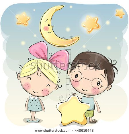 Cute cartoon boy gives a girl a star