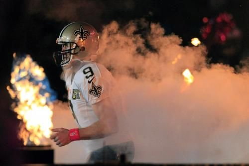 Panthers vs. Saints:      October 16, 2016  -  41-38, Saints  -     New Orleans Saints quarterback Drew Brees (9) became the sixth play to pass for 50,000 yards with one team during action against the Carolina Panthers at the Mercedes-Benz Superdome in New Orleans October 16, 2016. Photo by AJ Sisco/UPI | License Photo