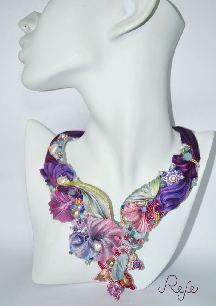 S/S 2015 | Reje design Embroidered Necklace OOAK in shibori silk, swarovski crystals, pearls of river and natural stone. Entirely sewn up by hand, magnetic closure in rhinestones ; one - piece and exclusive. https://www.etsy.com/shop/Rejesoutache?ref=hdr_shop_menu https://www.facebook.com/rejegioielliinsoutache