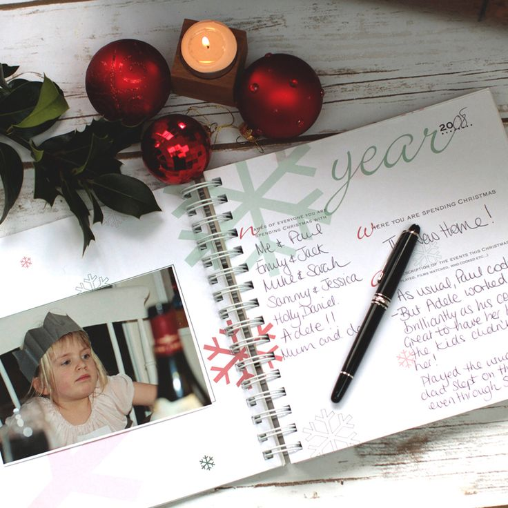 The first double page spread to fill each year - room for a photo and the write who you're with and what you've done this Christmas.