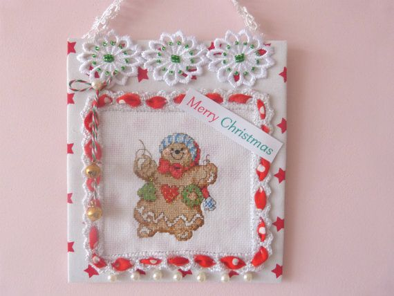 Christmas Embroidered ornaments Red by CrossStitchElizabeth