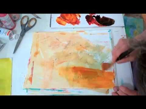 """Jane Davies - """"Making Collage Papers - and Collage"""",  (... making collage papers from my """"scrap paper"""", and then  one way I've been approaching some new 4""""x4"""" pieces.)"""