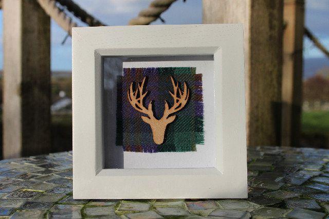 Skye tartan frame with stag (small), £15.00