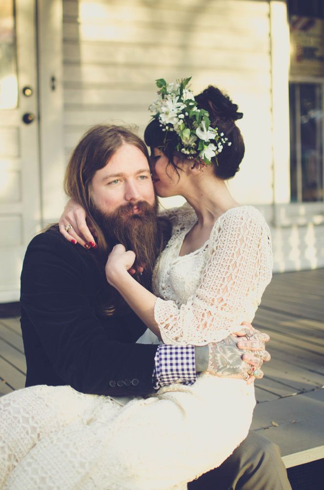 Yeah for long-haired and bearded grooms! TELL YOUR HUSBAND TO GROW A BEARD THE HIPSTER WEDDING