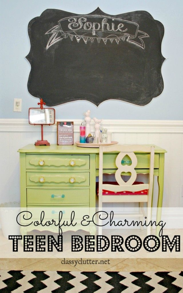 Colorful and Charming Tween Bedroom - this is so bright and fun! W/4ft chalkboard using some MDF (medium density fiberboard) & chalkboard paint.