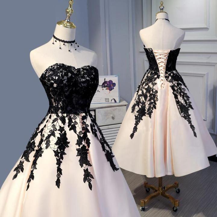 LP3373 Longueur De Thé Champagne Et Dentelle Noire Gown De Soirée De Mariage Gown De Bal Type…