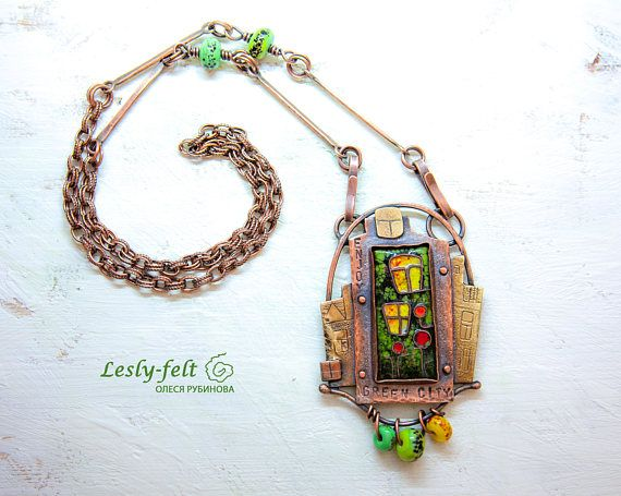 Copper brass jewelry enameled jewelry old technology green