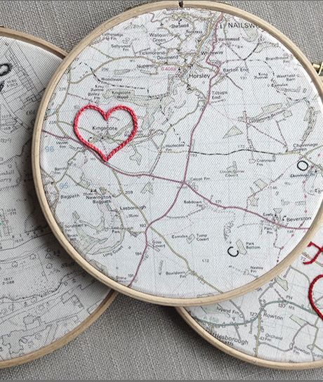 "Traditional 2nd Second Wedding Anniversary Gift: Customized Vintage Map Framed in a 7"" Wooden Hoop with Embroidered Cotton Heart by House of Whatnot @ Etsy"
