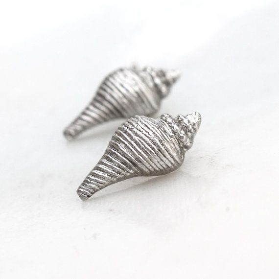Silver Shell Earrings Real Sea Shell Cast Fine by ClairePearse